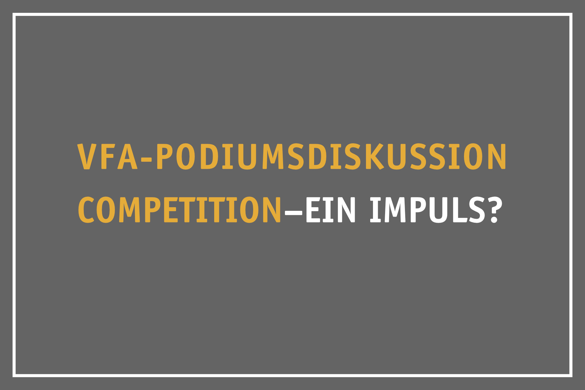 VfA-Podiumsdiskussion